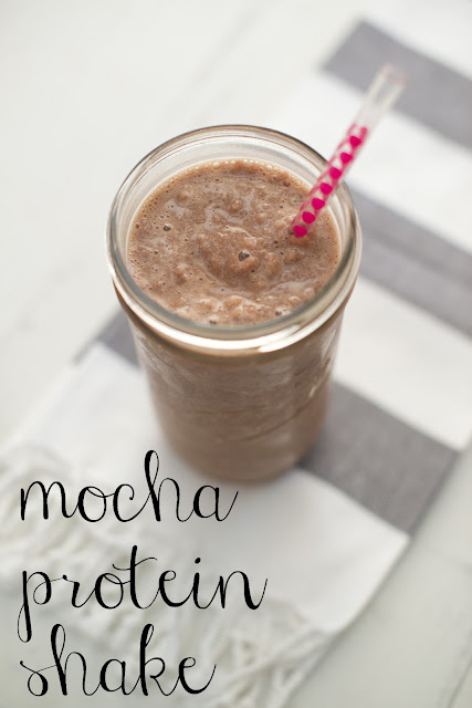 Need a morning pick me up? Try this Mocha Protein Shake! The best of both worlds--protein and caffeine to start your morning!