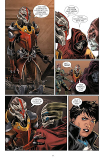 Internal comic book page of several panels showing discussion between aliens.