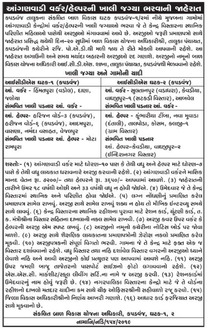 ICDS Kapadvanj Recruitment
