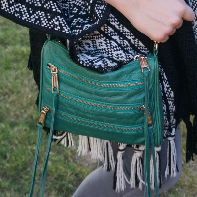 knitted kimono with Rebecca Minkoff emerald green mini 5-zip rocker bag | away from the blue