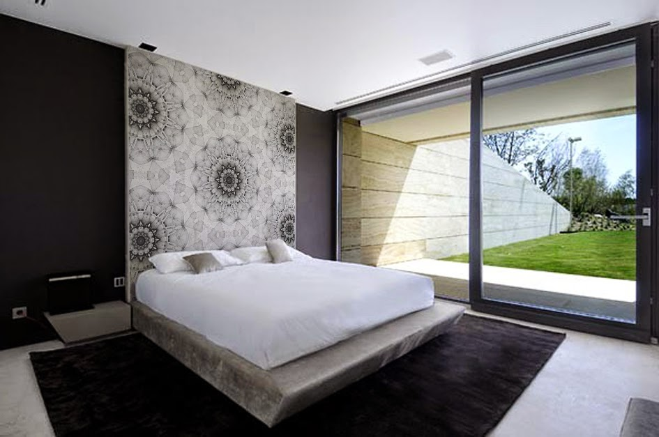 mandalla pap 201 is de parede com mandalas 19294 | awesome modern bedrooms design with white black bedroom wall bed pillow blanket and sliding glass door and carpet and wodoen side table and ceramic floor
