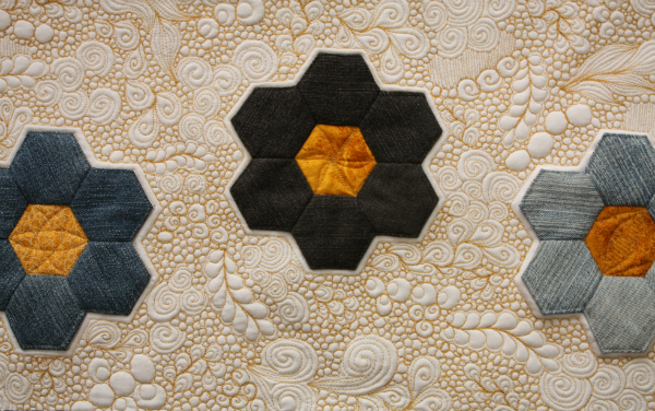 Denim Hexies mini quilt | DevotedQuilter.blogspot.com