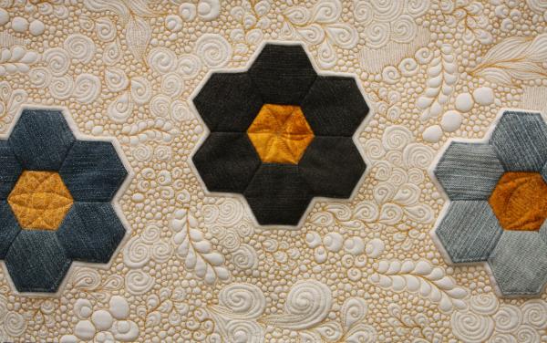 Denim Hexies mini quilt | DevotedQuilter.blogspot.com