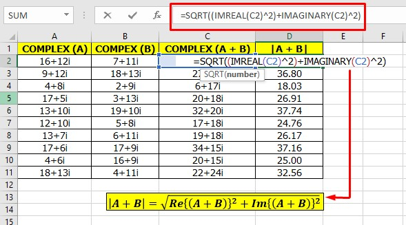 Modulus or Magnitude of Complex Number in Excel