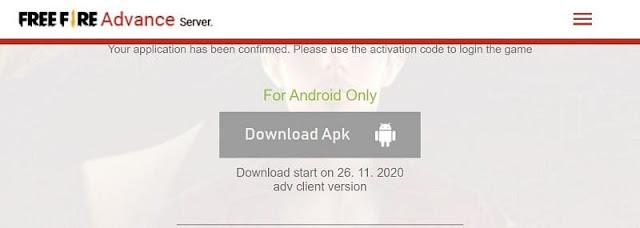 Free Fire OB25 Advance Server APK Download link