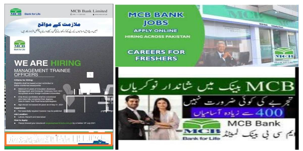 MCB Bank Limited MCB Jobs For Management Trainee Officers (MTOs) 2021
