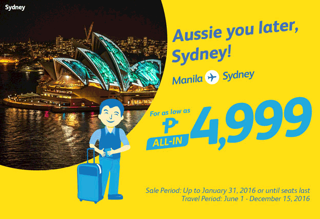 Cebu Pacific Manila to Sydney Promo 2016