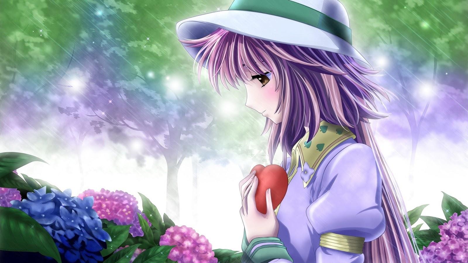 Anime Girl in Love Mystery Wallpaper