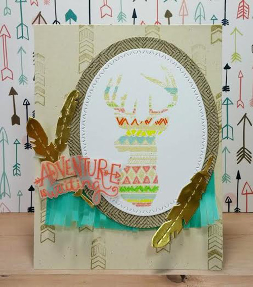 Adventure Deer Card by Naki Rager | Adventure Awaits Stamp set by Newton's Nook Designs #newtonsnook