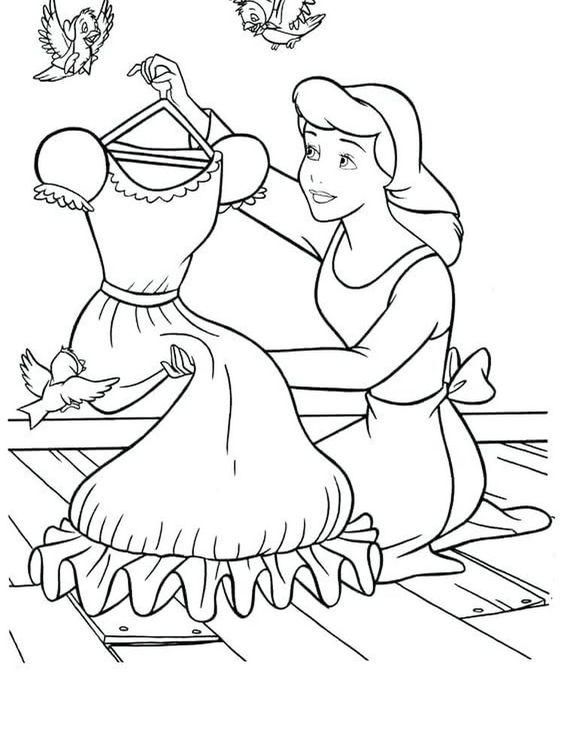Hình tô màu công chúa lọ lem và chiếc váy