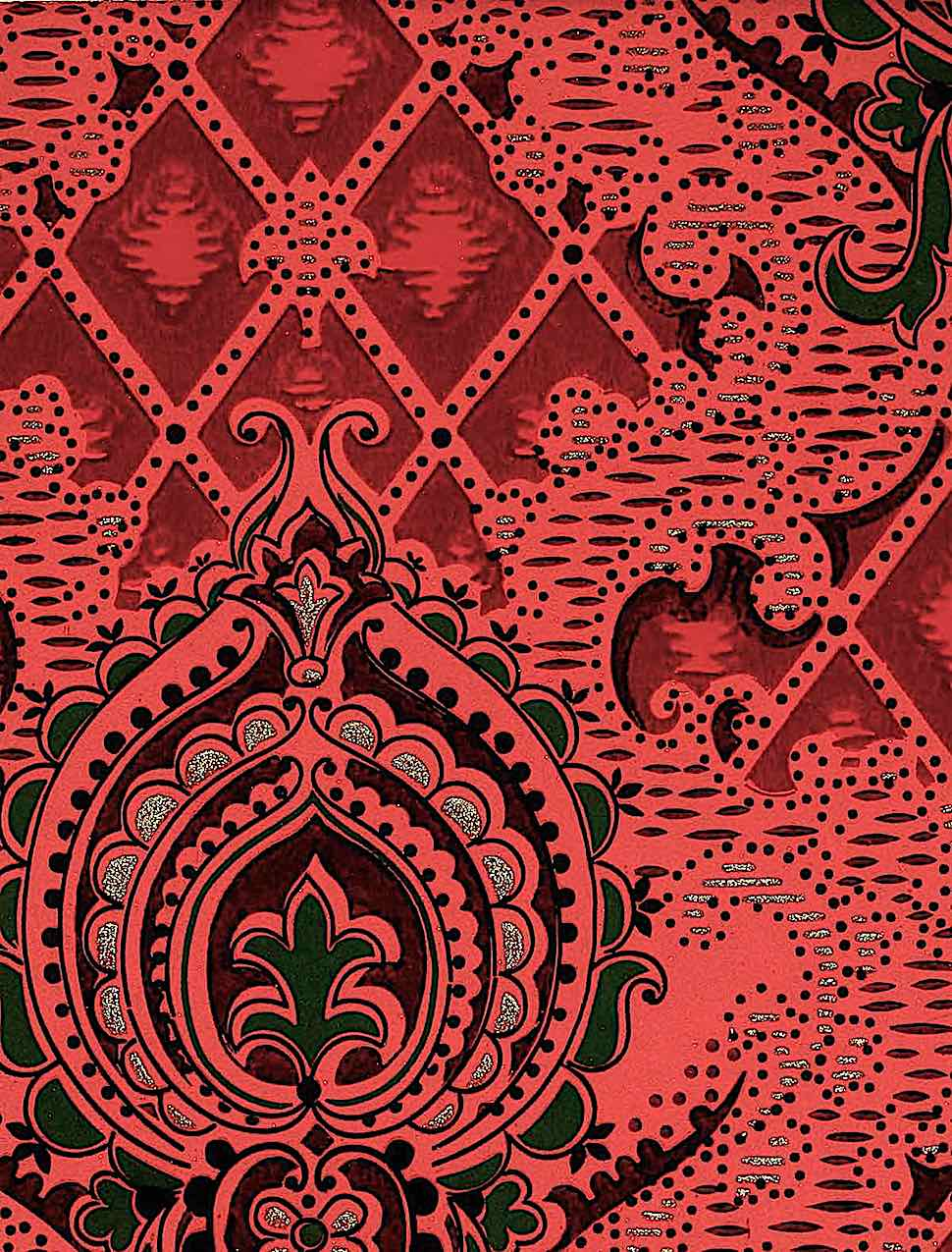 1906 wallpaper in red and gold