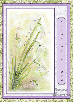 "Card sheet featuring a snowdrop and ""Thinking of You"" text."