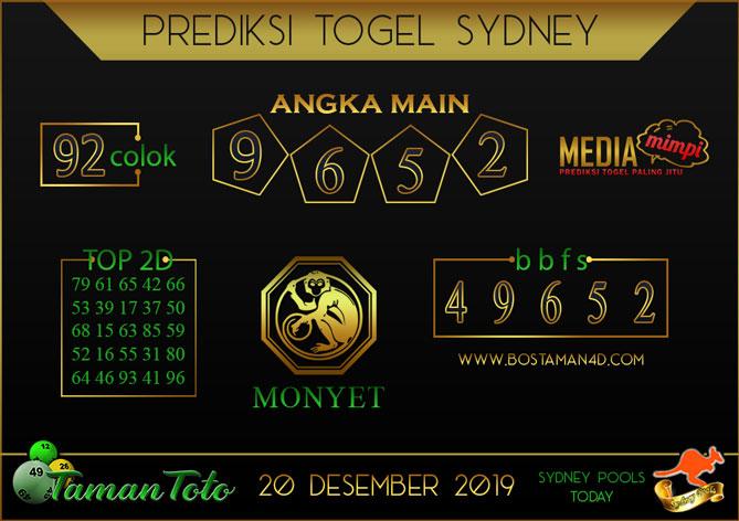 Prediksi Togel SYDNEY TAMAN TOTO 20 DESEMBER 2019