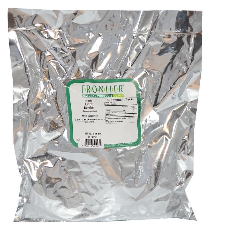 Frontier Natural Products, Whole Elder Berries (Цельные ягоды бузины), 453 г (16 унций)