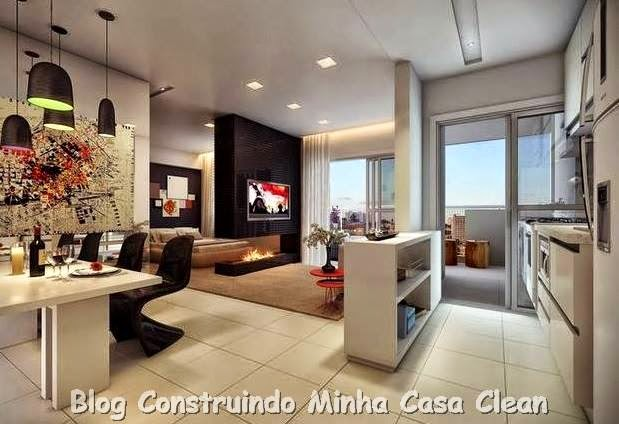 na sala de jantar, spots na sala de estar e rasgo de luz na cozinha ~ Sala De Estar E Jantar Integradas Apartamento Pequeno