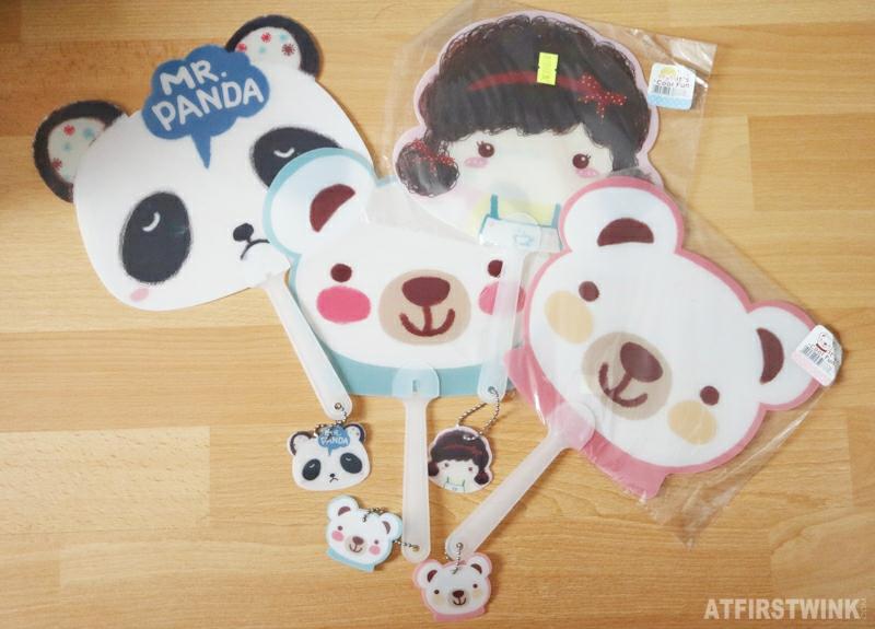 Cartoon fans bear panda girl