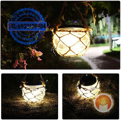 Hủ đèn treo cây sân vườn dùng pin năng lượng