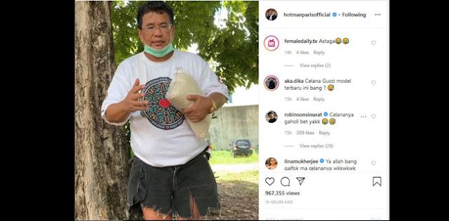 Tak Ada Cincin Berlian, Hotman Paris Pakai Celana Compang Camping Dan Ajak Orang Kaya Sumbang Beras Untuk Korban Corona