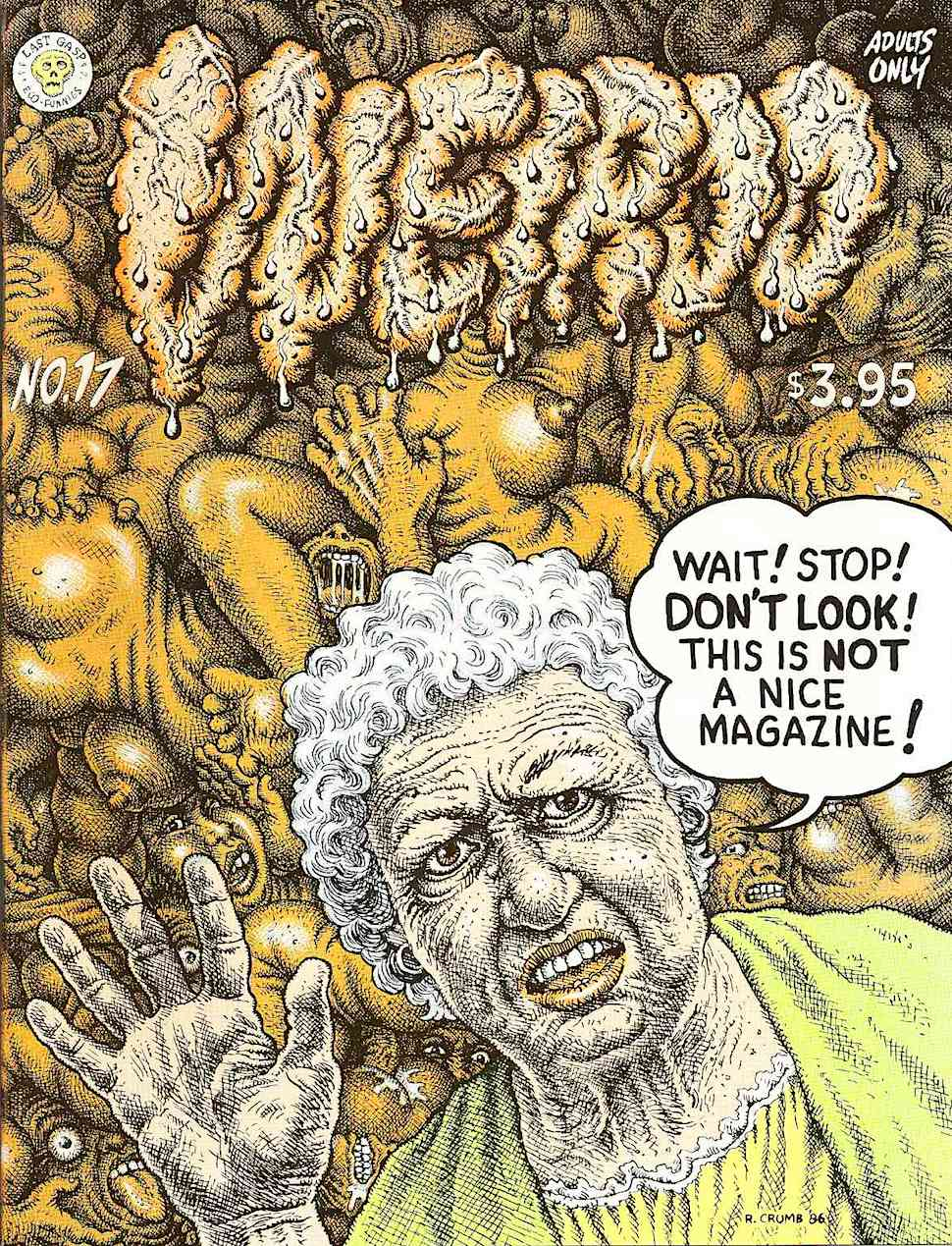 a Robert Crumb Weirdo Magazine #17 cover showing a disapproving senior woman