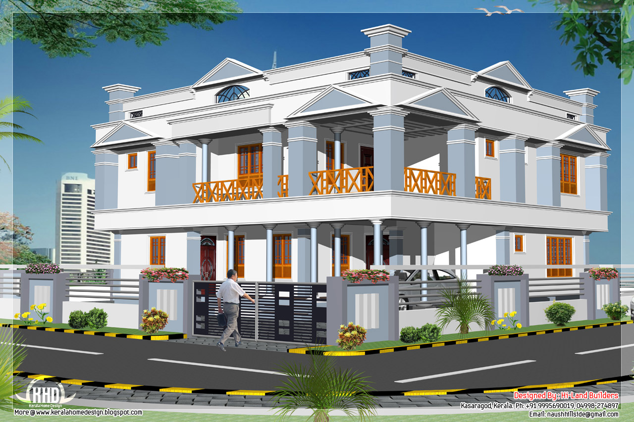 4 bedroom 2881 2 floor home design kerala home for Two storey house design with floor plan with elevation