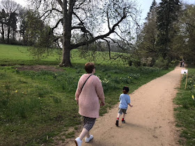 Mother and son walking through a wooded area