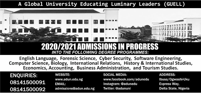 Admiralty University Post-UTME / DE Screening Form 2020/2021