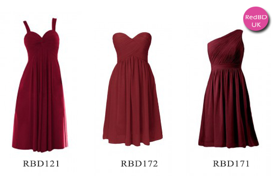 Burgundy pleat skirt bridesmaid dresses in tea length