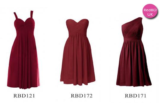 Burgundy pleat skirt bridesmaid dresses in tea length