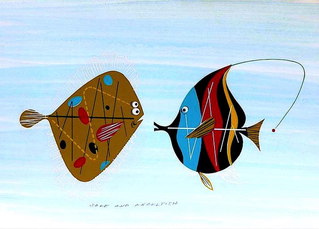 Charles Harper illustration, two fish meet