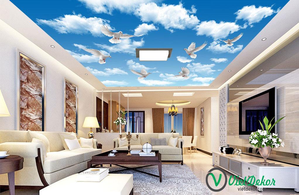 Tranh trần 3d bầu trời xanh mây trắng con cò