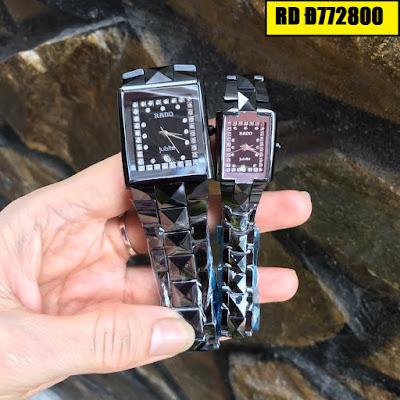 Đồng hồ nam mặt chữ nhật dây đá ceramic đen RD T772800