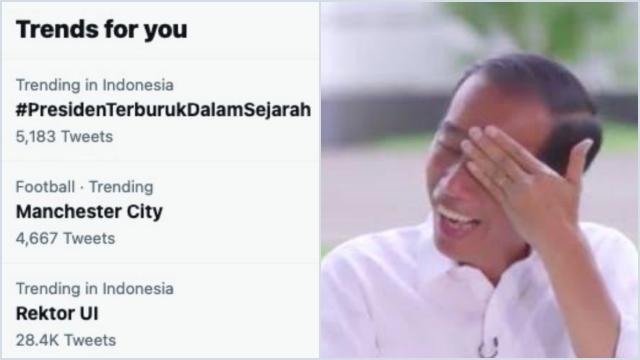 Jokowi Izinkan Rektor UI Rangkap Jabatan, Tagar <i>#PresidenTerburukDalamSejarah</i> jadi Trending