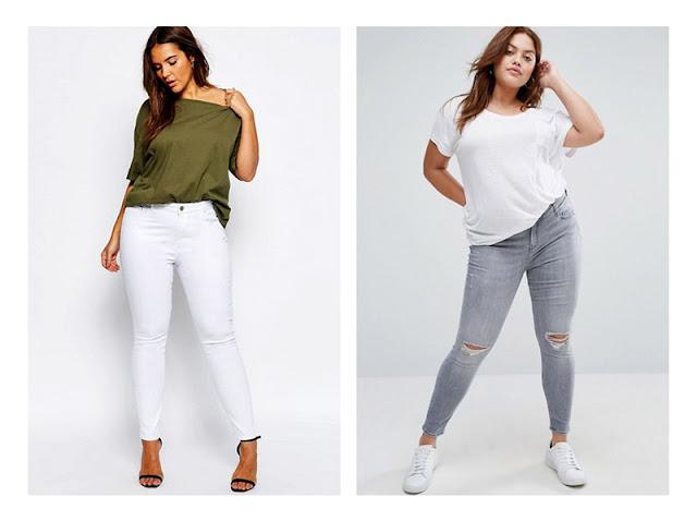 Полная девушка в светлых джинсах