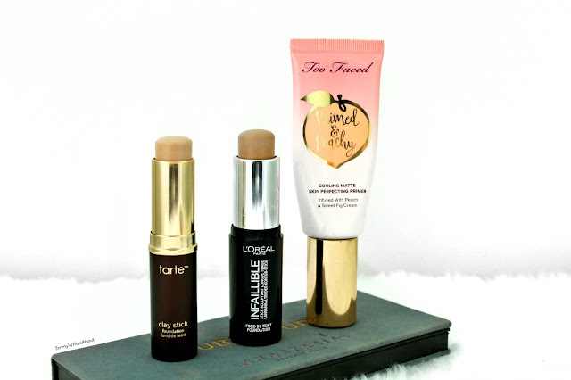 foundation sticks, too faced primed and peachy primer