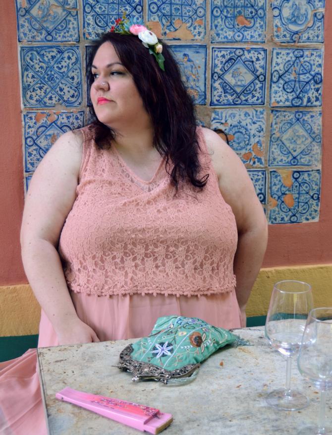 abito cerimonia chiffon con pizzo plus size pesca Junarose coroncina di fiori