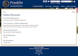 new Town of Franklin - online payments page
