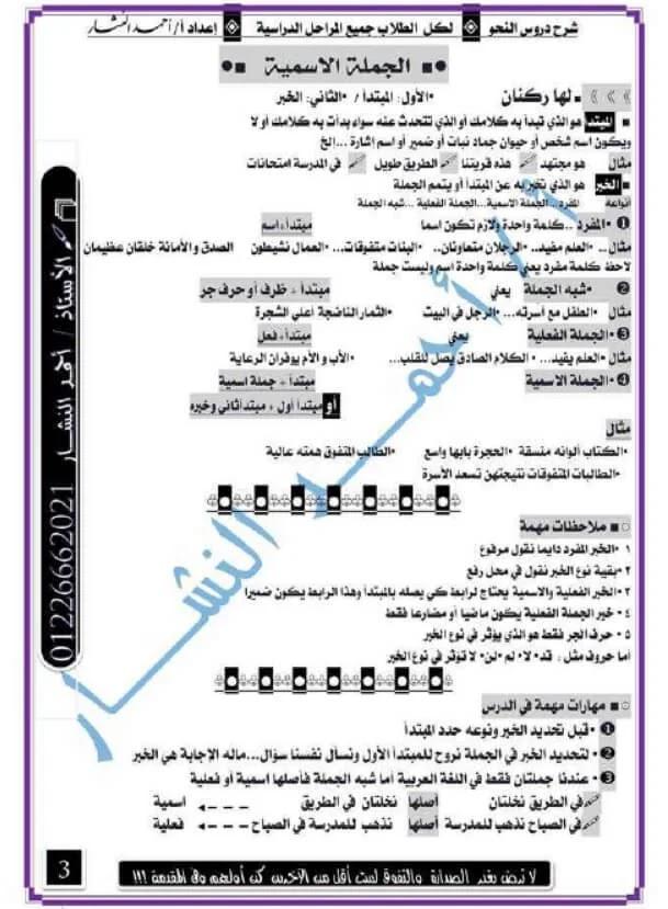مذكرة النحو فى مادة العربي
