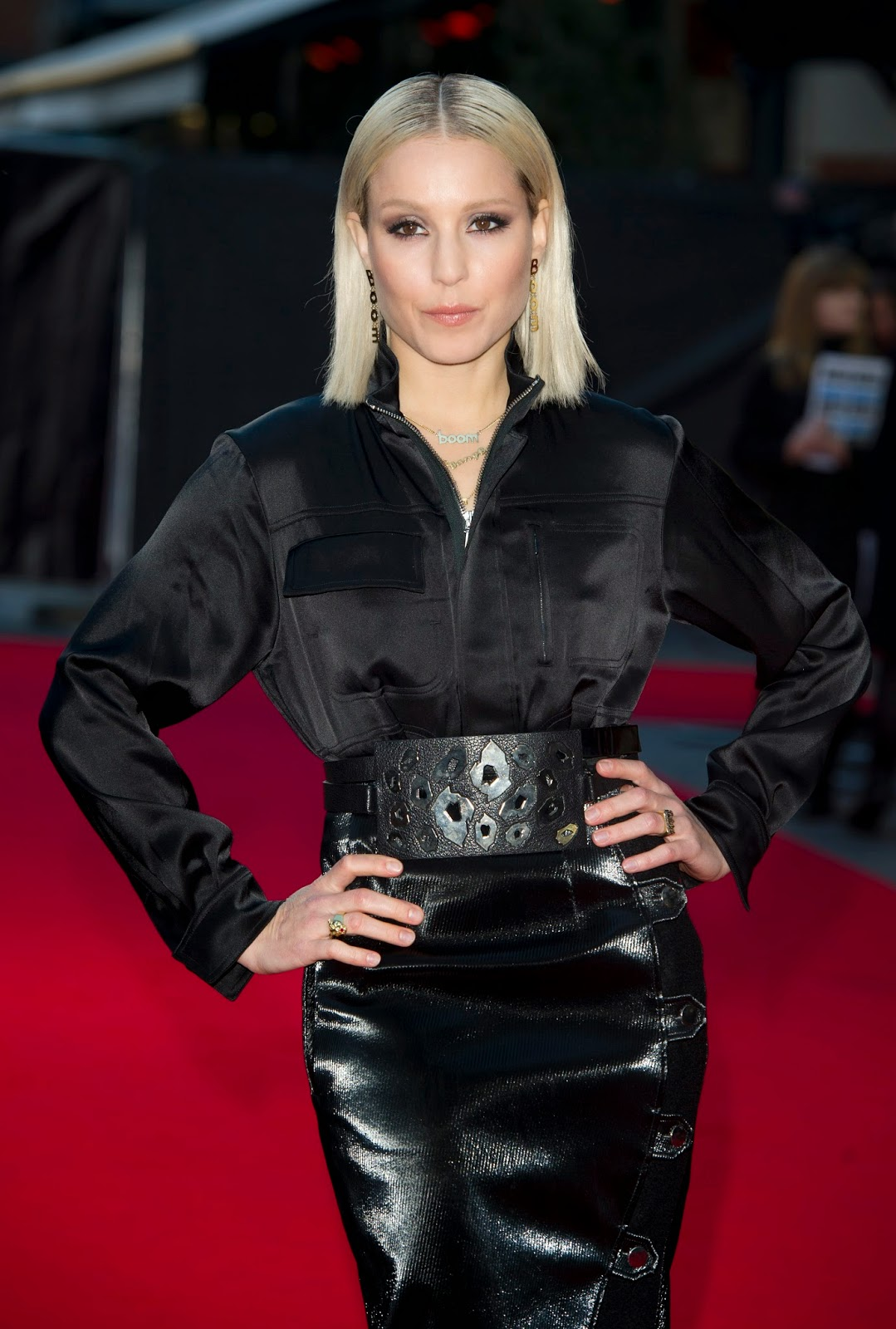 33e28ff56ed82 Noomi Rapace - black satin blouse   leather skirt - Satin Lite House