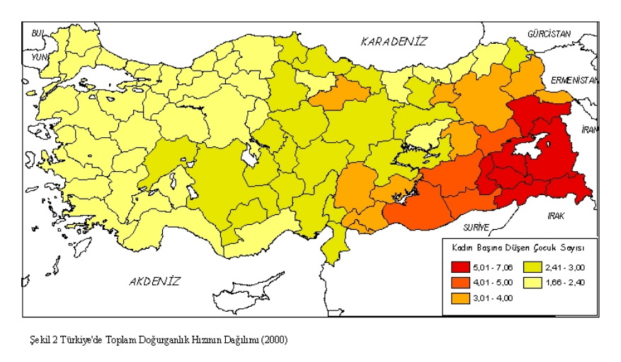 Fertility rates of Turkey by region