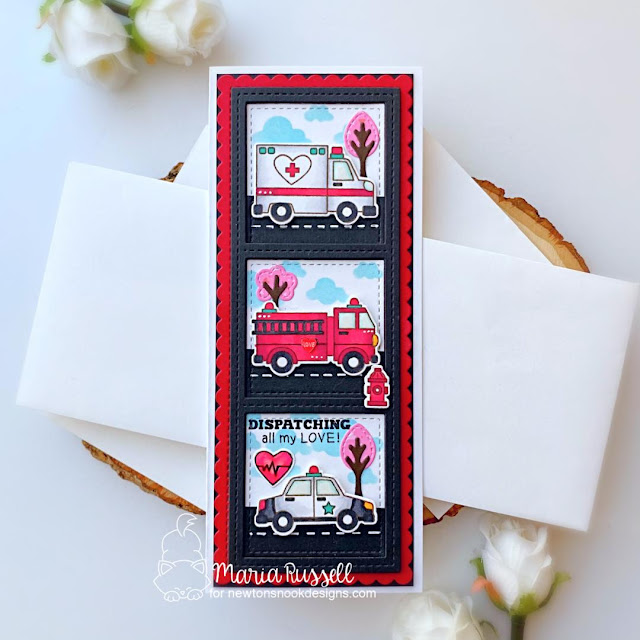 Emergency vehicles Valentine card by Maria Russell | Love Emergency Stamp Set, Slimline Frames & Windows Die Set, and Slimeline Frames & Portholes Die Set by Newton's Nook Designs