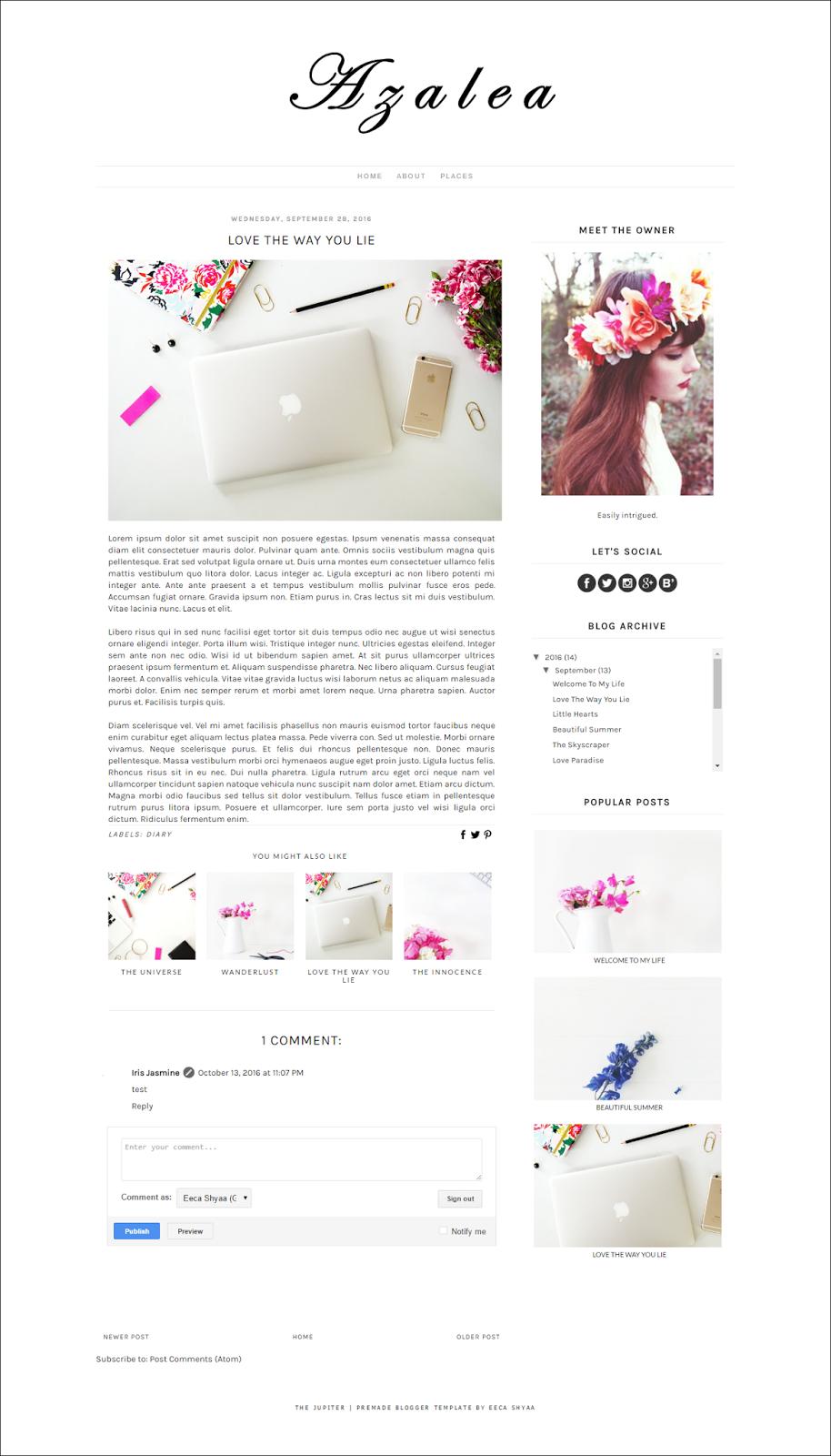 free blogger template, minimalist