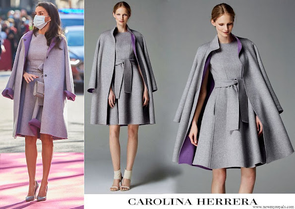 Queen Letizia wore a coat and dress from Carolina Herrera Fall 2016 collection