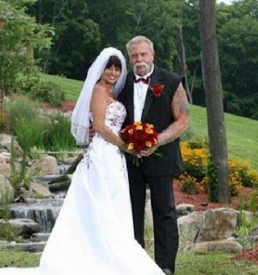 Paul Teutul Sr in his wedding dress with his wife