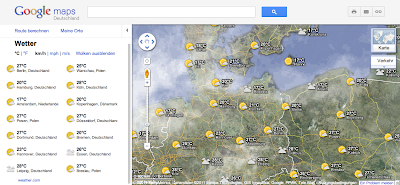 Der Wetter-Layer in Google Maps mit Legende