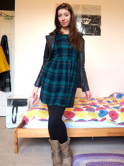 Touch the Sky - outfit of green tartan dress, black leather jacket, and chunky brown boots to Disneybound as Merida from Brave