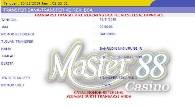 Bukti Transfer MasterCasino88 Rp 28.000.000
