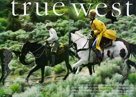 Editorial: True west, Tatjana Patitz by Arthur Elgort for Vogue US, 1989