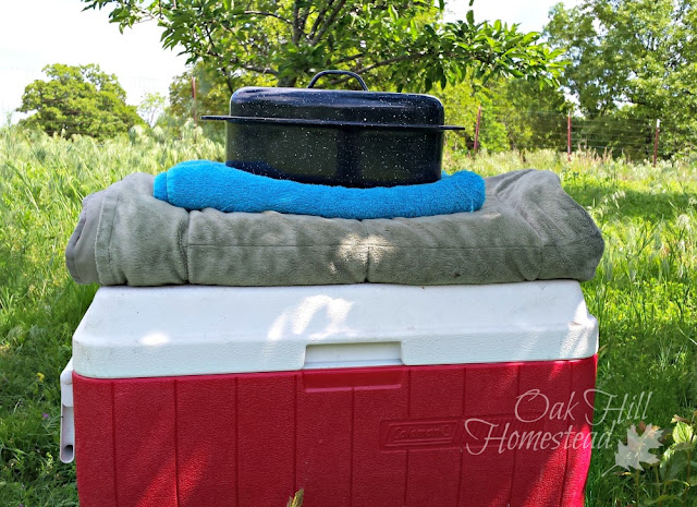 What you need to make a straw box cooker from a cooler.
