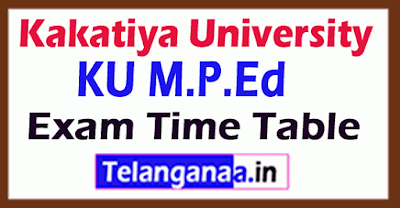 Kakatiya University KU M.P.Ed Exam Time Table
