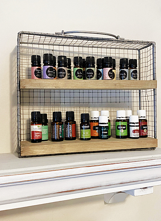 shelf filled with essential oils
